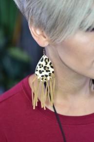 Beige Let's Be Fringe Leopard Earrings