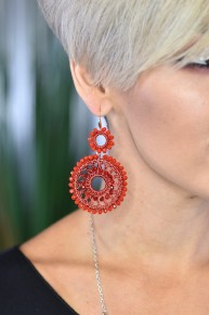 Red Long Way Around Earrings