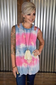 CLEARANCE Blue & Pink Tie Dye Cut Out Tank
