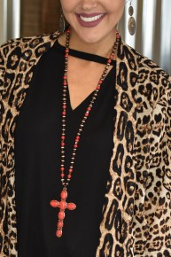 Red Stone Cross Necklace