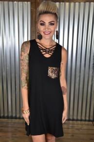 Black Lattice Sequin Pocket Dress
