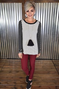 CLEARANCE Off White Striped  L/S  Top