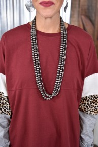 Silver Layered Beaded Necklace