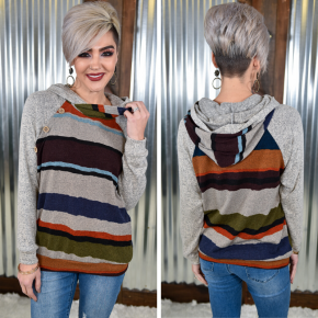 Striped Double Hoodie