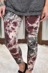 Brown & Charcoal Tye Dye Yoga Leggings