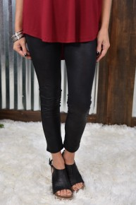 Faux Leather Leggings in Black