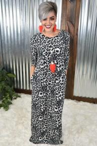 Grey Leopard Maxi Dress