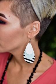 Mint Sparkle & Stripes Earrings