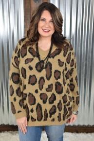 Tan Wonderfully Winter Leopard Sweater