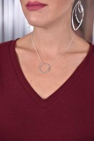 Silver Circle Short Necklace
