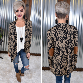 Damask Cardigan with Elbow Patches