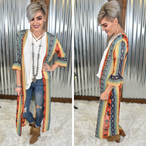 Red, Mint & Blue Aztec Duster