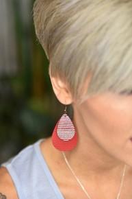 Red Glitter Double Teardrop Earrings