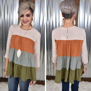 Fall Colorblock Tiered Top