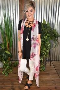 Rose McKenna Long Floral Vest