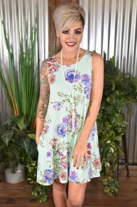 Mint Floral Tank Dress with Pockets
