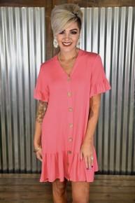 Coral Faux Button Ruffle Dress
