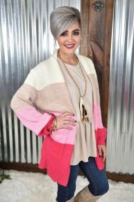 Pink Colorblock Sweater Cardigan
