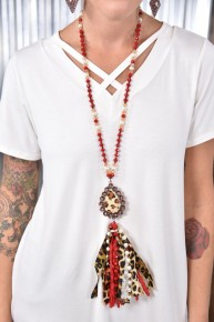 Red Leopard Beaded Tassel Necklace