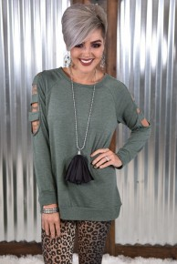 Olive Cut Out L/S Top