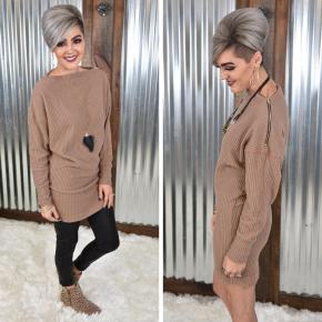 Brown Waffle Knit Tunic Dress