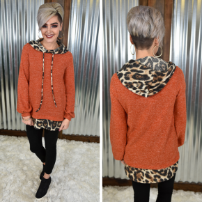 L/S Hoodie with Leopard Contrast