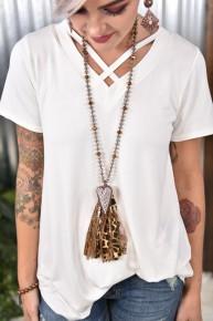 Leopard Crystal Heart Fabric Tassel Necklace