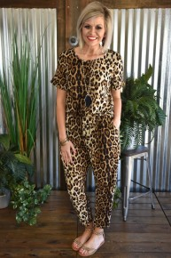 Meet Me For Happy Hour Leopard Jumpsuit