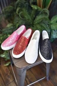 CLEARANCE Glitter Slip On Sneakers