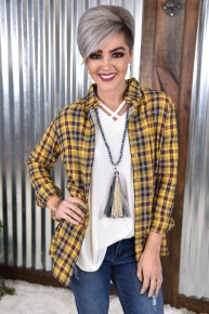 Bonfire Ready Yellow Plaid Button Down Top