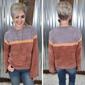 Dark Lavender Colorblock Sweater *Final Sale*