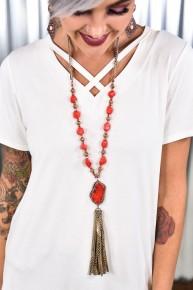 Red Rock The Look Snakeskin Tassel Necklace