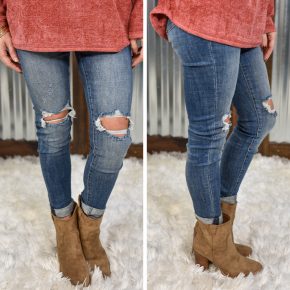 Kan Can High Rise Double Cuffed Ankle Skinny Jeans