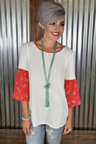 CLEARANCE Red Floral Sleeve Waffle Top