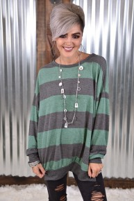 Green Striped High Lo Sweater