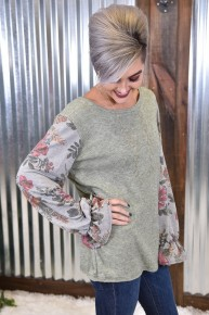 Sage Floral L/S Ruffle Top