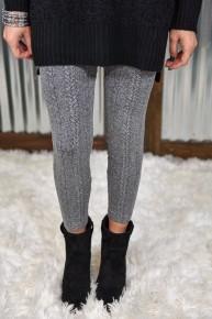 Heather Black Braid Knit Leggings