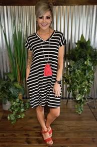 Black V Neck Striped Pocket Dress