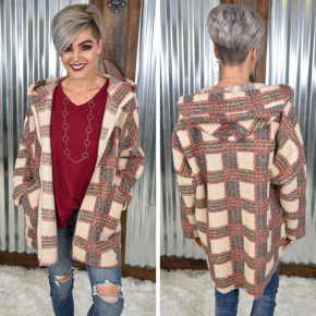 Red Bean Something Plaid Faux Sherpa Coat