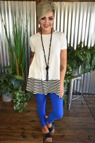 CLEARANCE Striped Accent S/S Top