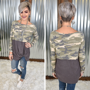 Camo Colorblock Knot Top