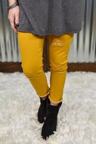 L & B Mustard Distressed Skinny Jeans
