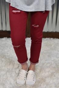 L & B Burgundy Distressed Skinny Jeans