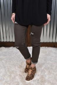 L & B Olive Distressed Skinny Jeans