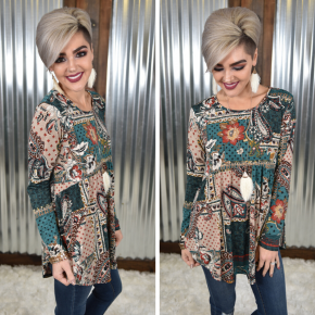 Paisley & Floral L/S Empire Tunic
