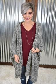 Charcoal Hooded Kimono