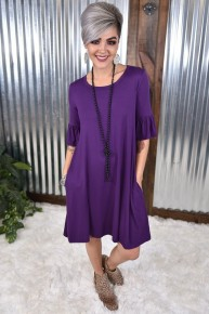 Ruffled Sleeve Dress in Eggplant