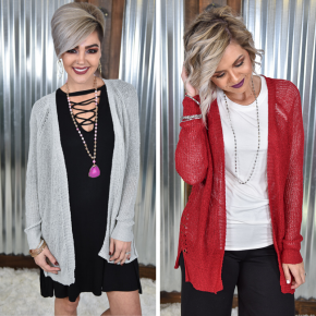 Lightweight Laced Up Cardigan *Final Sale*