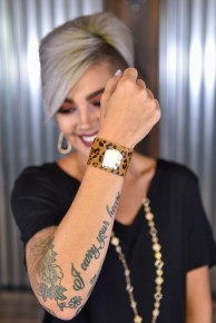 White Stone & Leopard Cuff Bracelet
