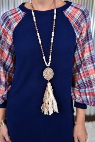 Rose Gold Bling Tassel Necklace